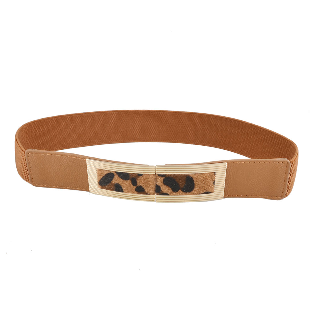 Woman Leopard Pattern Metal Interlock Buckle Brown Stretch Waistband Belt