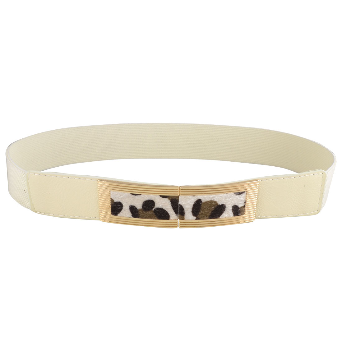 Off White Faux Leather Buckle Part Textured High Waist Belt Band for Ladies