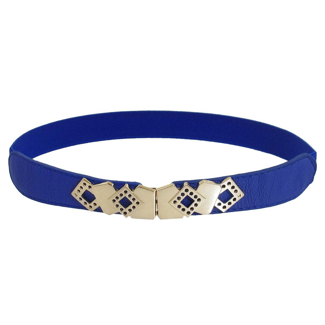 Woman Rhombus Metal Interlocking Buckle Slim Cinch Belt Stretchy Waistband Blue