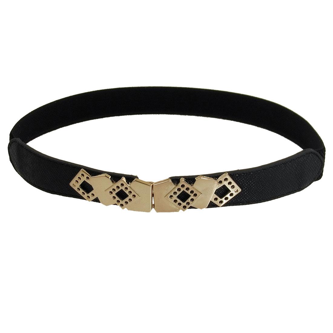 Women Hollow Out Rhombus Design Metal Interlock Buckle Elastic Waist Belt Black