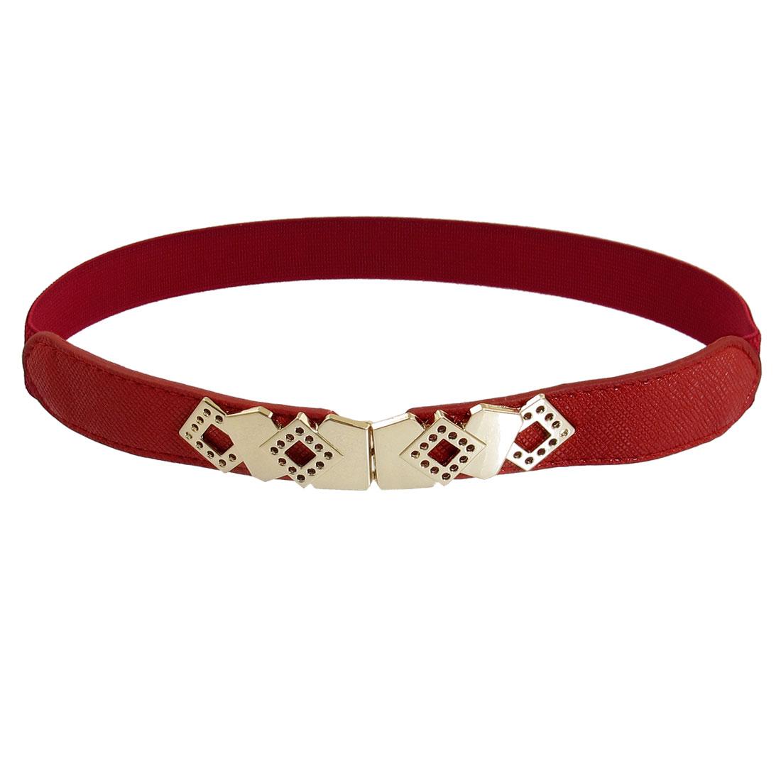 Hollow Out Rhombus Interlock Buckle Textured Elastic Cinch Belt Red for Ladies