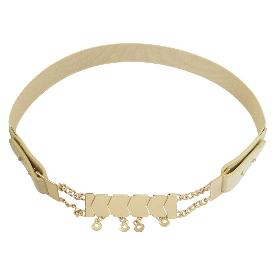 Woman Chain Decor Hook Buckle Stretchy Khaki Waist Belt Waistband Corset Band Cinch