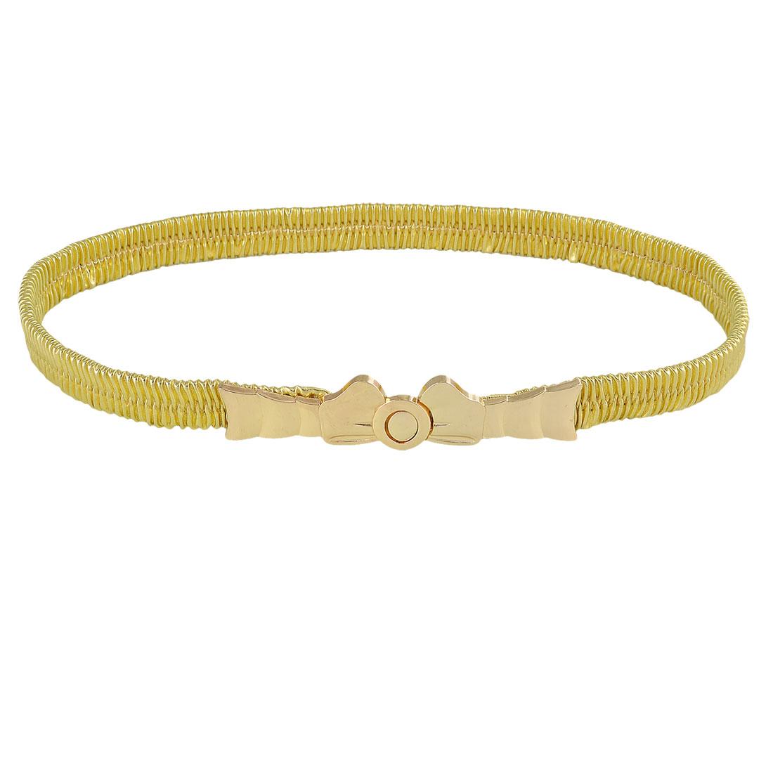 Lady Gold Tone Bowknot Interlocking Buckle Faux Leather Stretch Skinny Cinch Waist Belt
