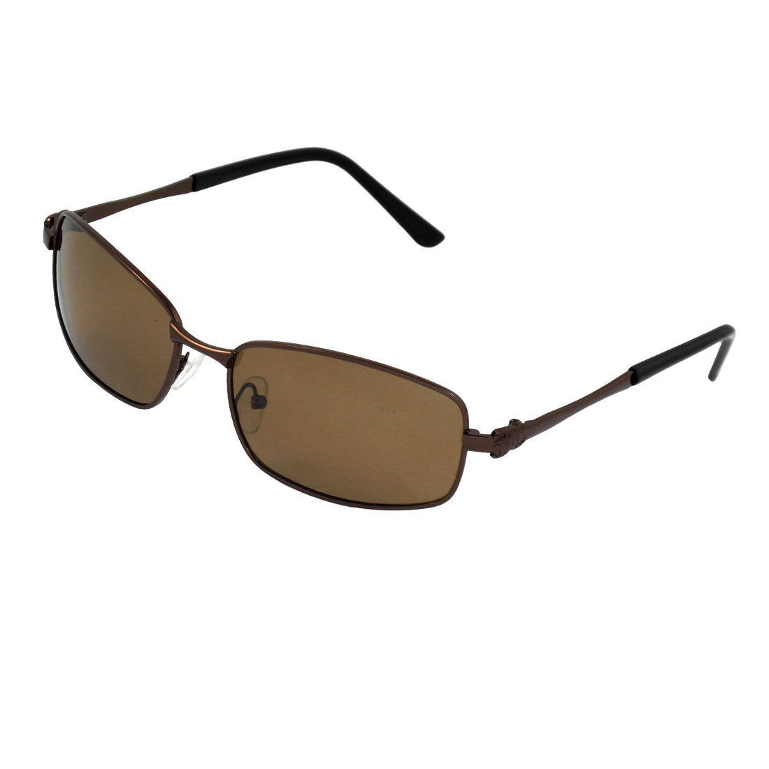 Men Coffee Color Metal Plastic Arm Rectangle Lens Polarized Sunglasses