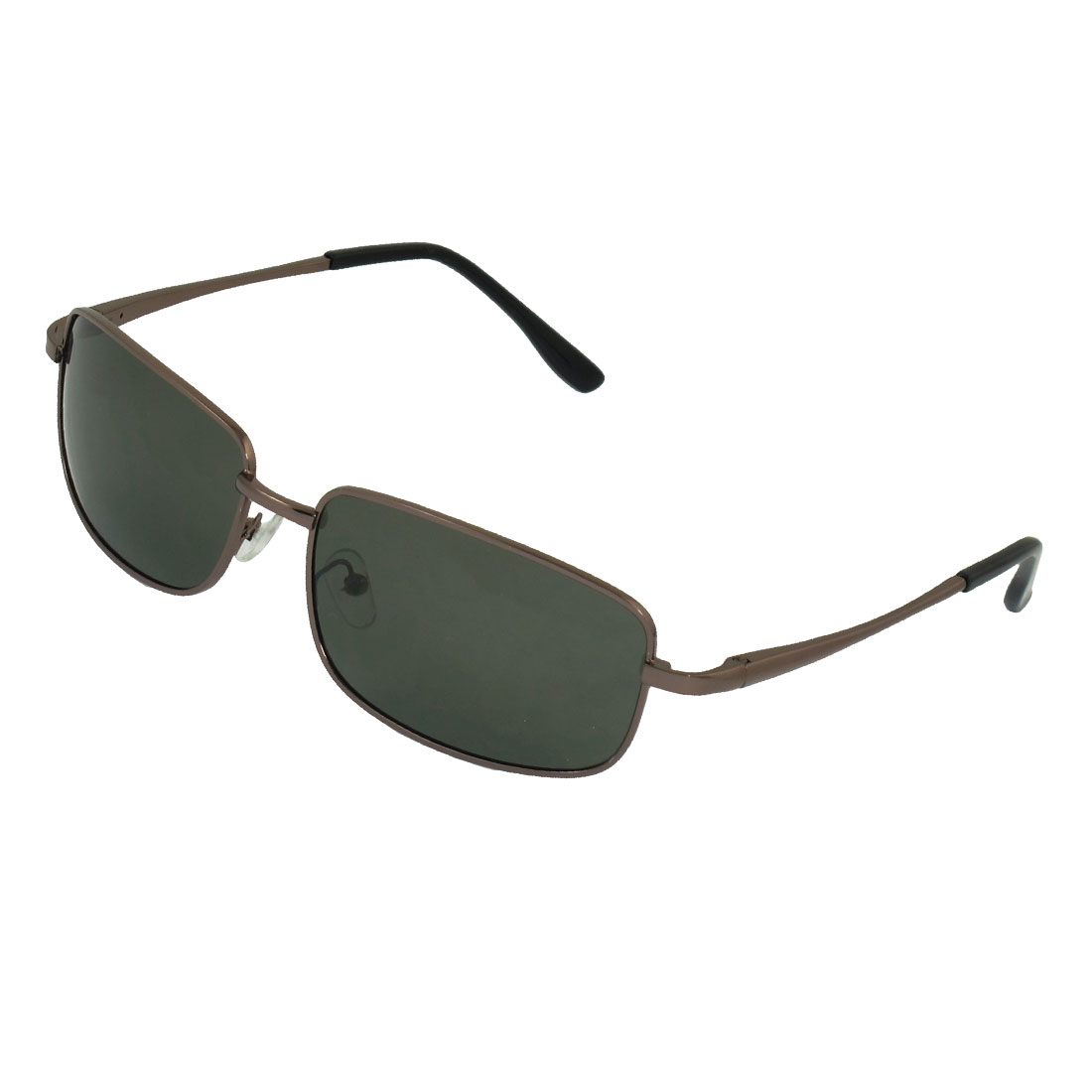 Men Rectangle Colored Lens Polarized Sunglasses Dark Green Coffee Color