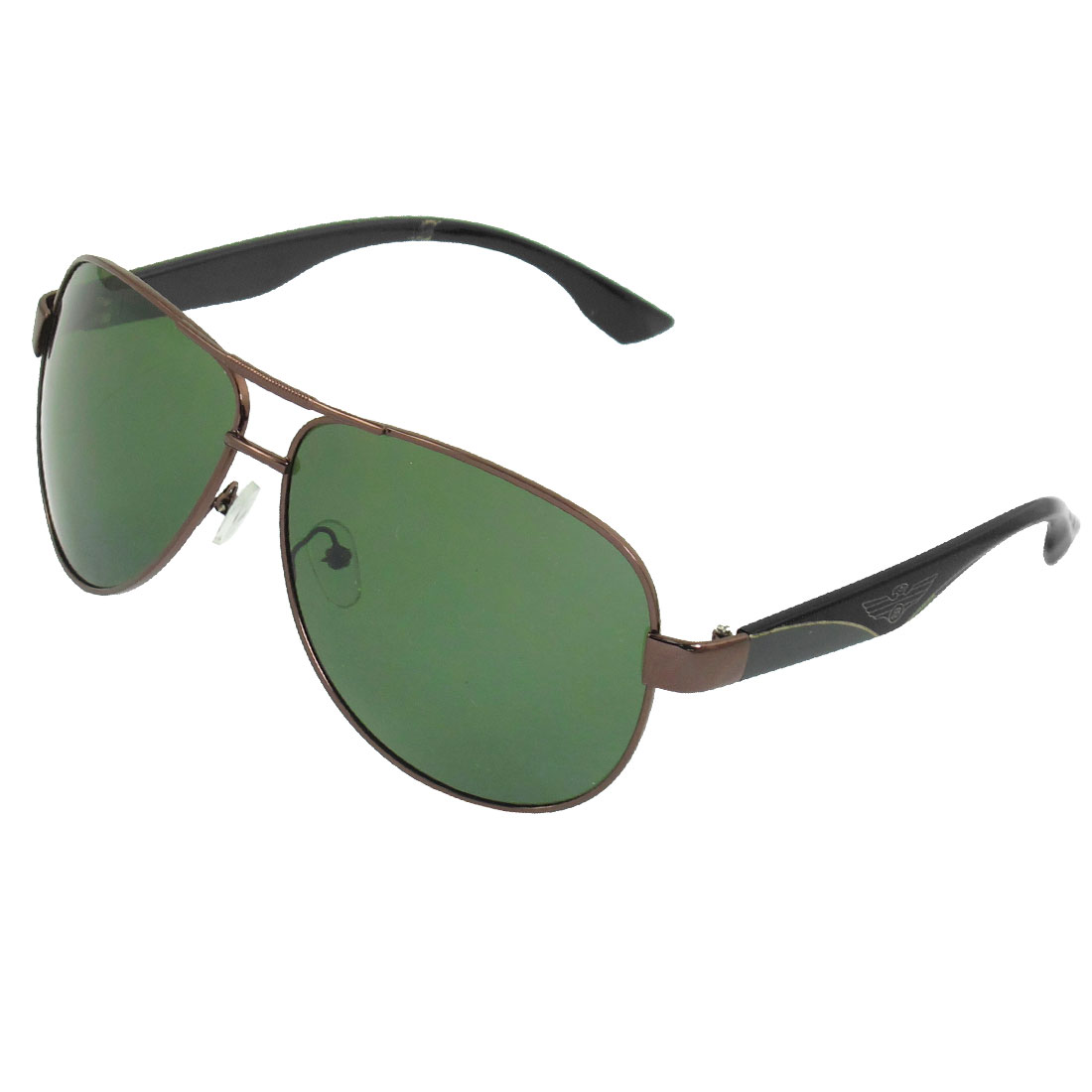Men Green Coffee Color Polarized Lens Dual Bridge Sunglasses