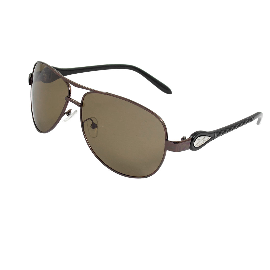 Men Metal Double Bridge Flower Printed Arms Brown Oval Lens Polarized Sunglasses