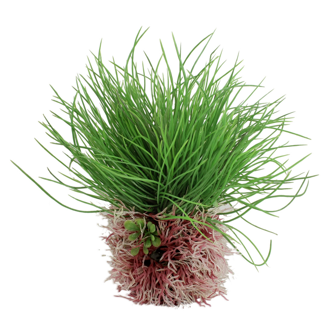 Emulational Green Pink Plastic Water Plant for Fish Tank Aquarium