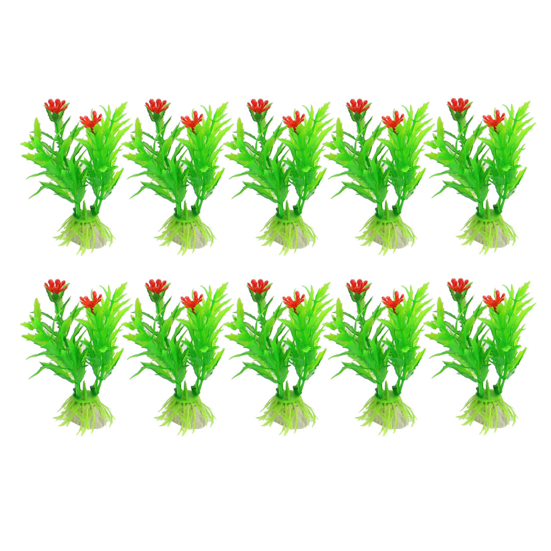 "10 Pcs 3.5"" Green Red Water Plant Grass for Fish Tank Aquarium"