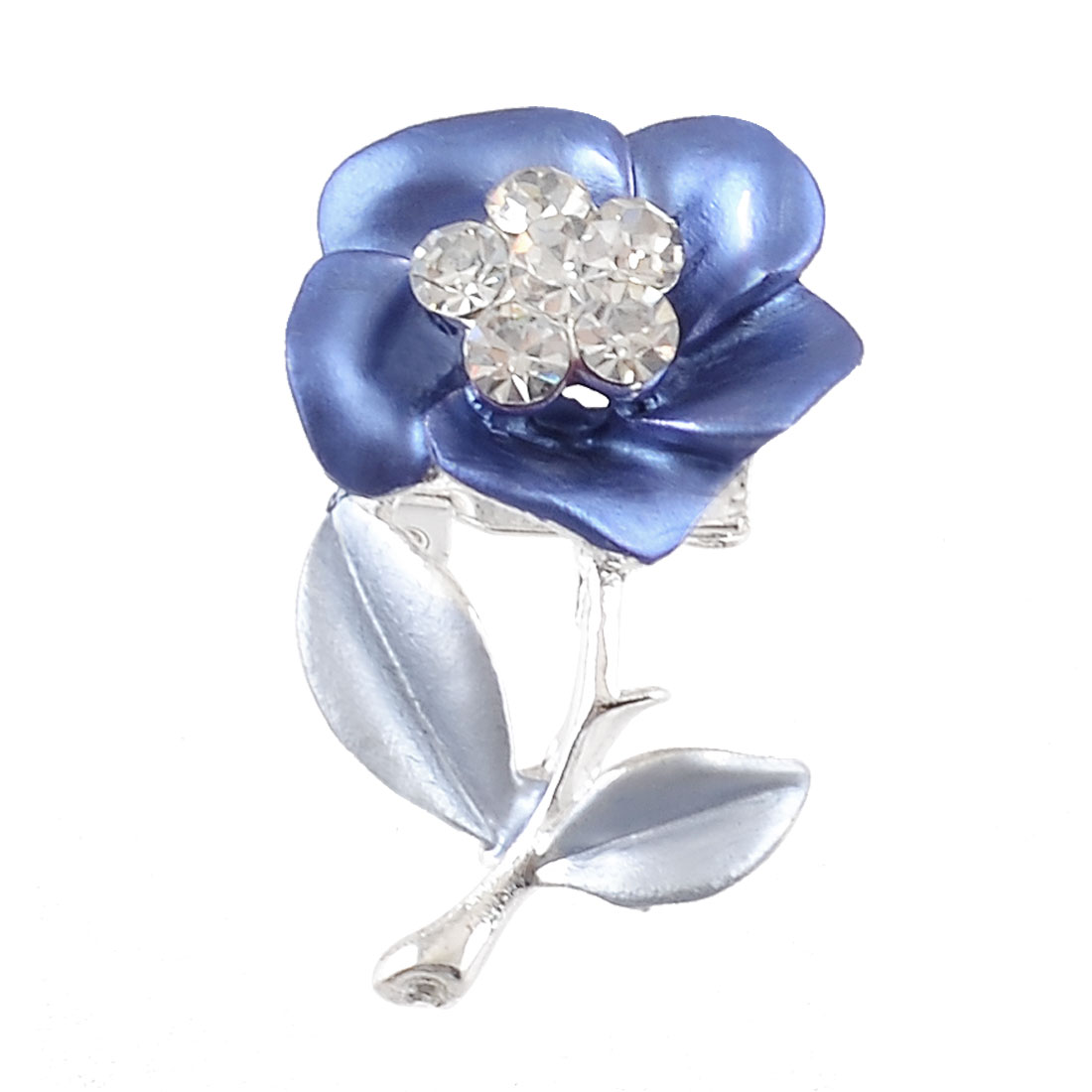 Ladies Glistening Rhinestones Leaves Floral Breast Pin Brooch Blue Silver Tone