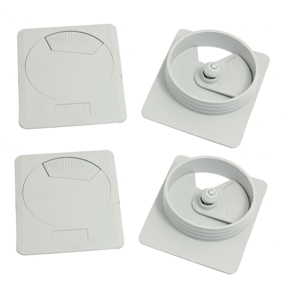 4 Pcs Desktop Computer 60mm Mount Rectangle Light Gray Plastic Cable Grommet