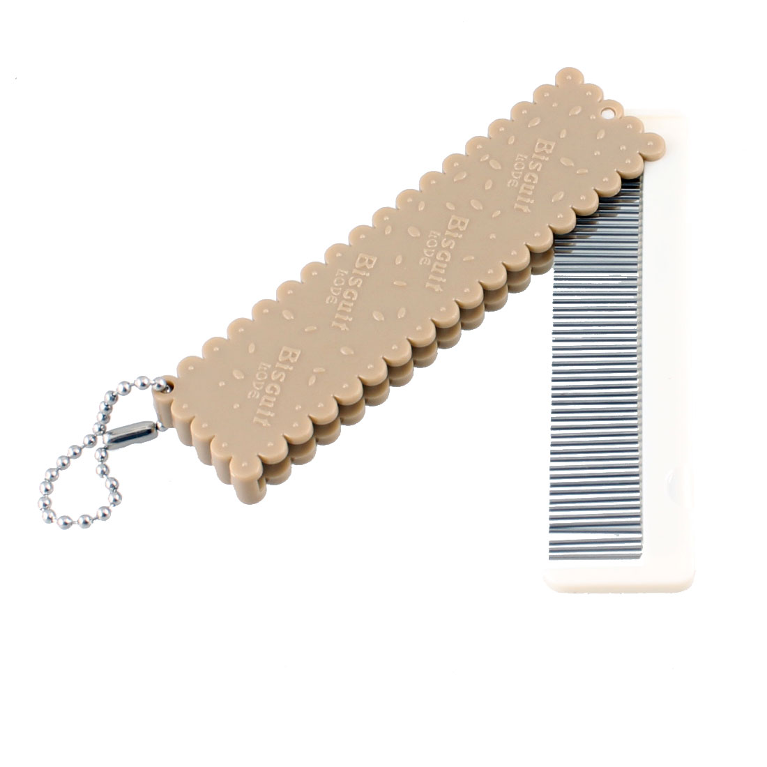 Portable Fine Tooth Glass Mirror Pocket Folding Hair Comb Brown w Keychain