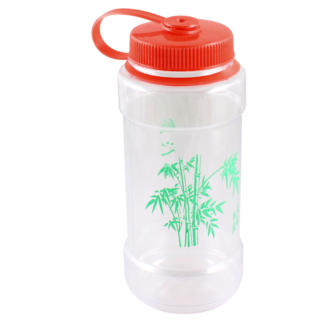 Portable Bamboo Print Red Lid Plastic Clear Cup Sports Water Bottle 700ML