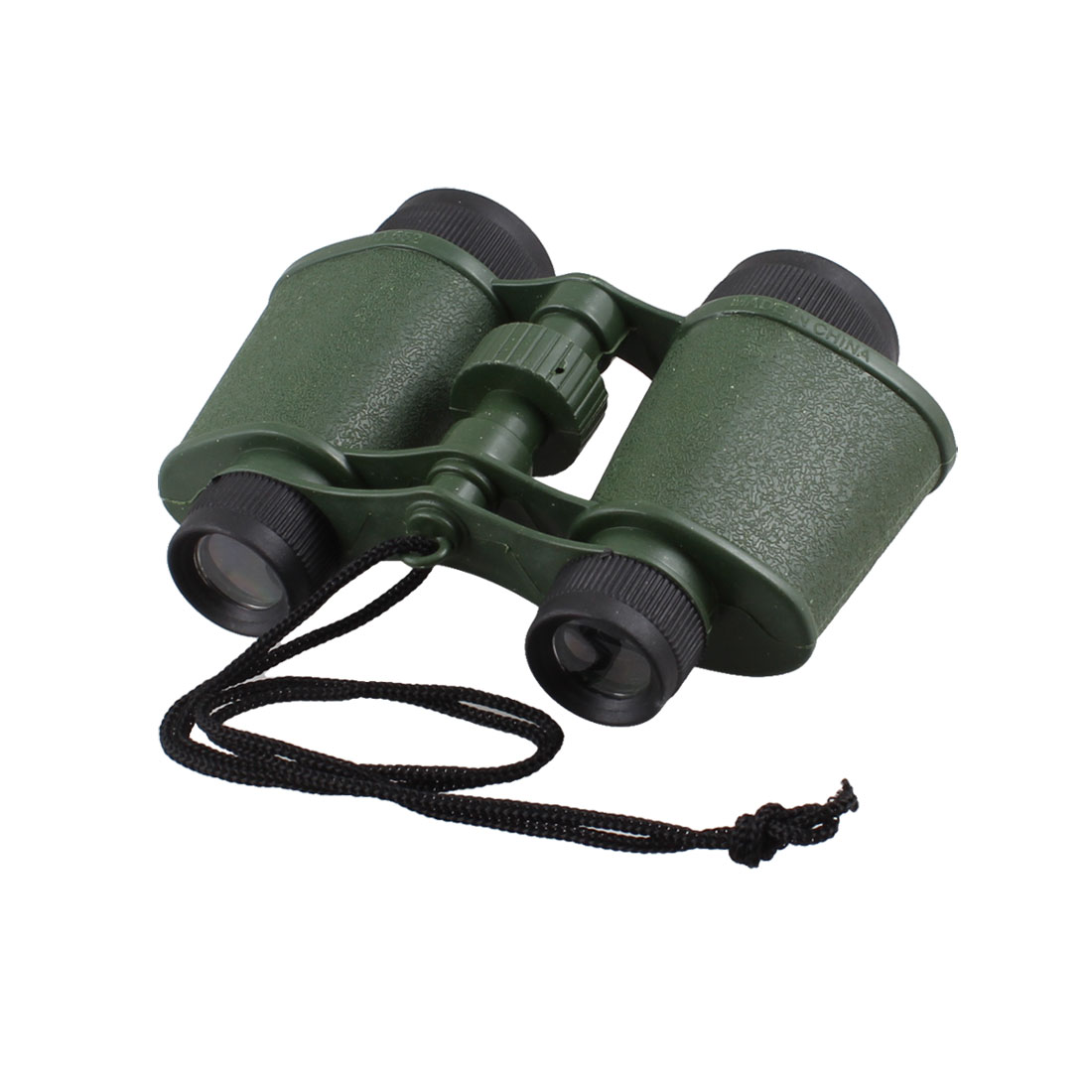 Children Army Green Plastic Binoculars Telescope Toy w Neck Strap