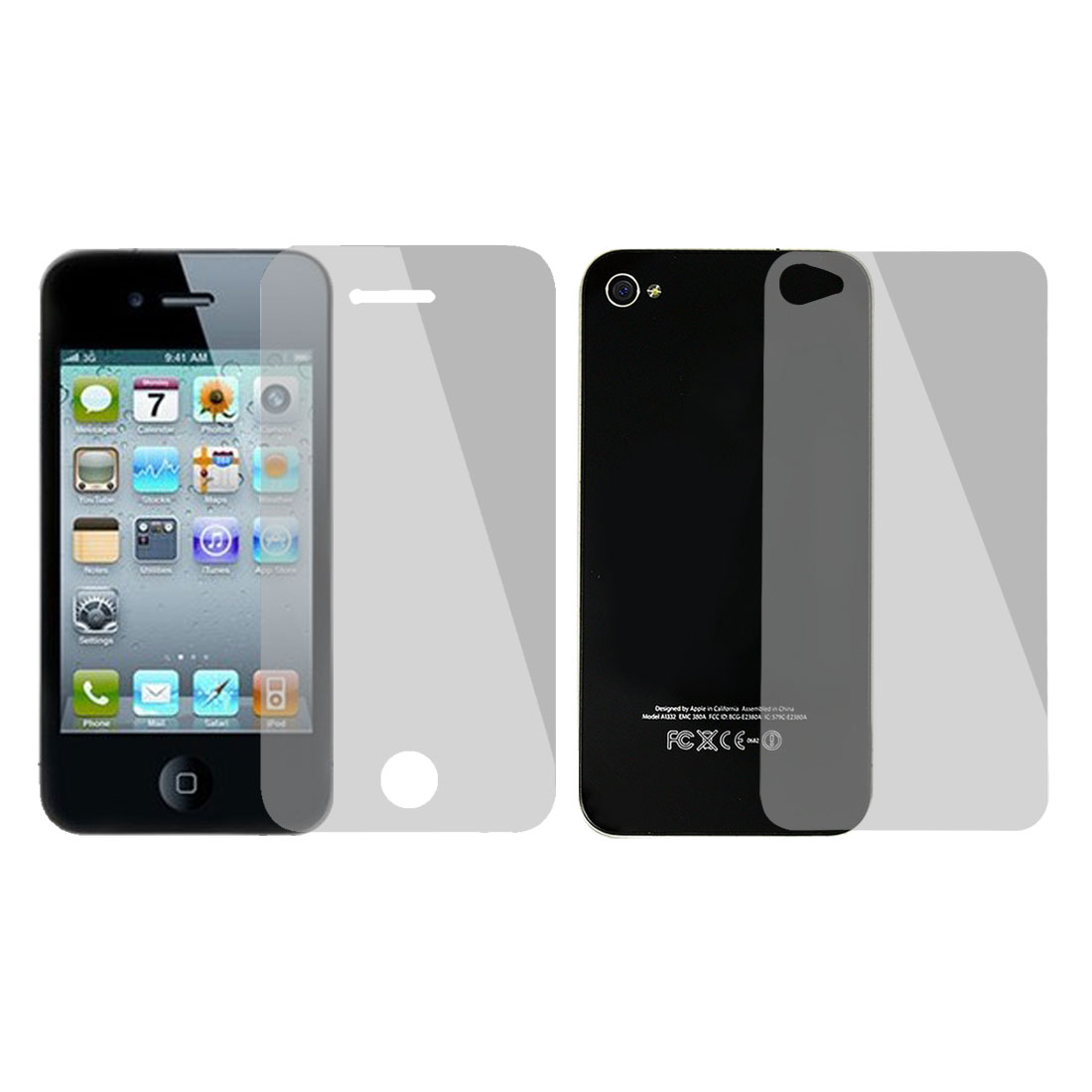 2 in 1 Set Back Front Anti Glare Clear Screen Protector for iPhone 4 4S