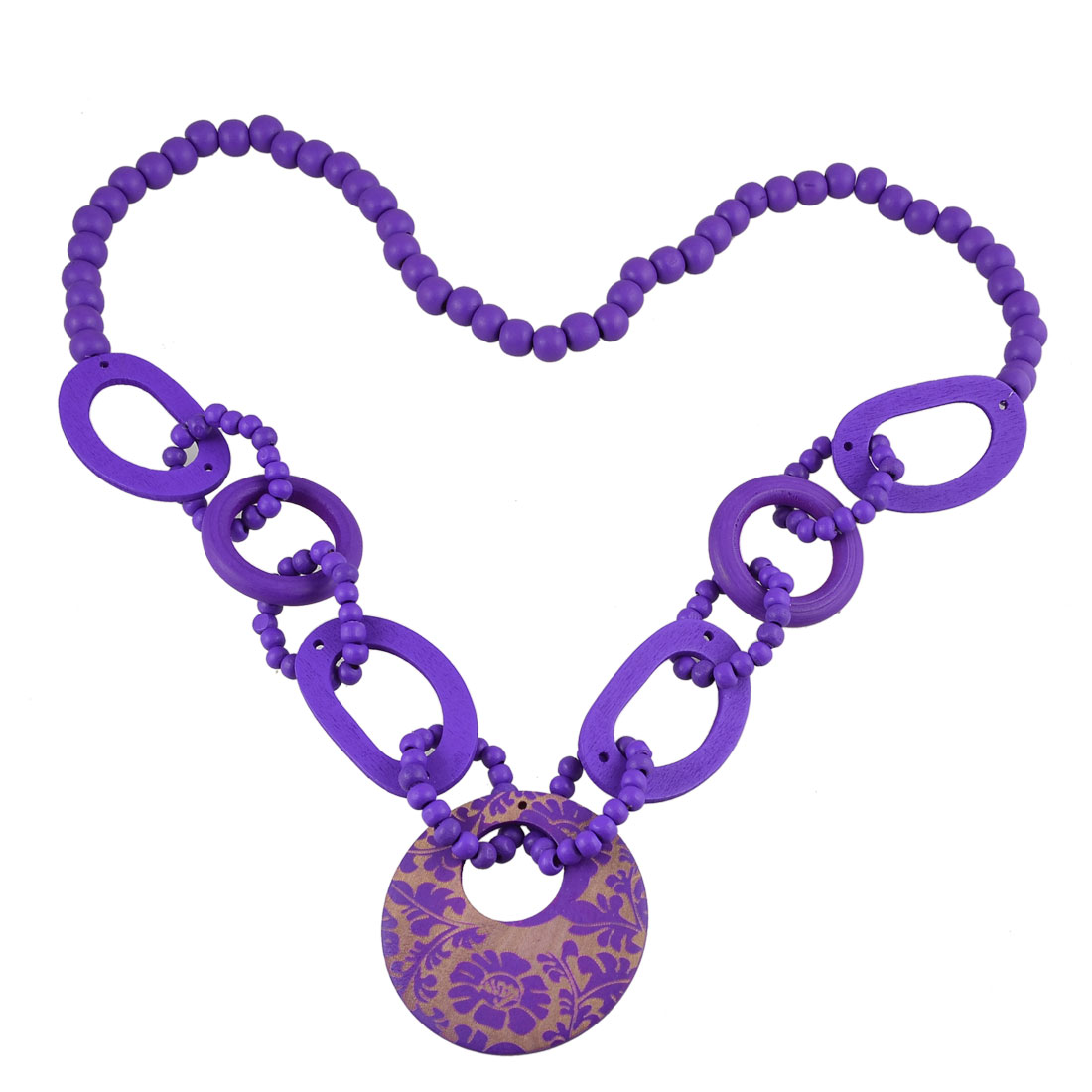 Purple Wood Beads Decor Floral Pattern Sweater Necklace for Ladies