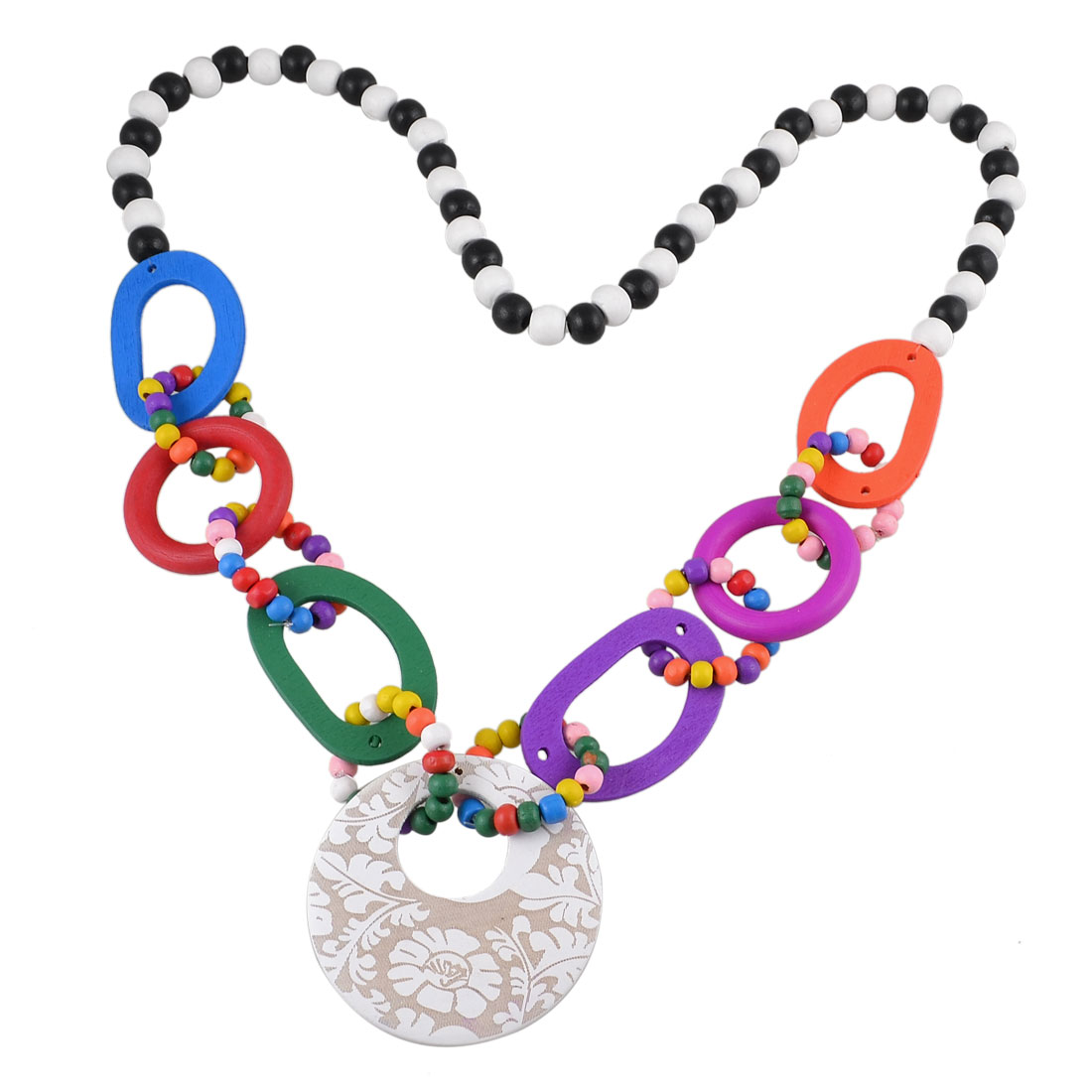 Colorful Wood Beads Fashion Sweater Dress Necklace for Ladies