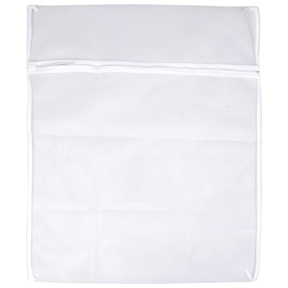Zipper Closure White Nylon Mesh Lingerie Clothes Wash Washing Bag 68cm x 57cm
