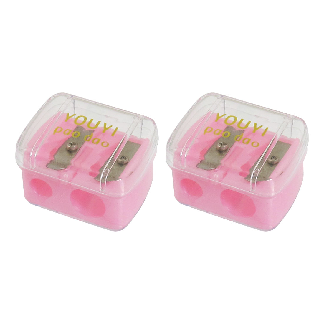 2 Pcs 12mm 8mm Holes Plastic Manual Pencil Sharpener Pink Clear