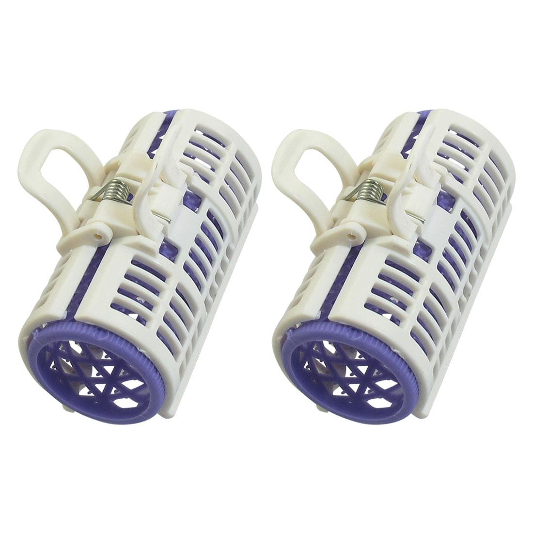 Women Home DIY Styling Plastic Hair Curler Cosmetic Roller Lavender White 2 Pcs