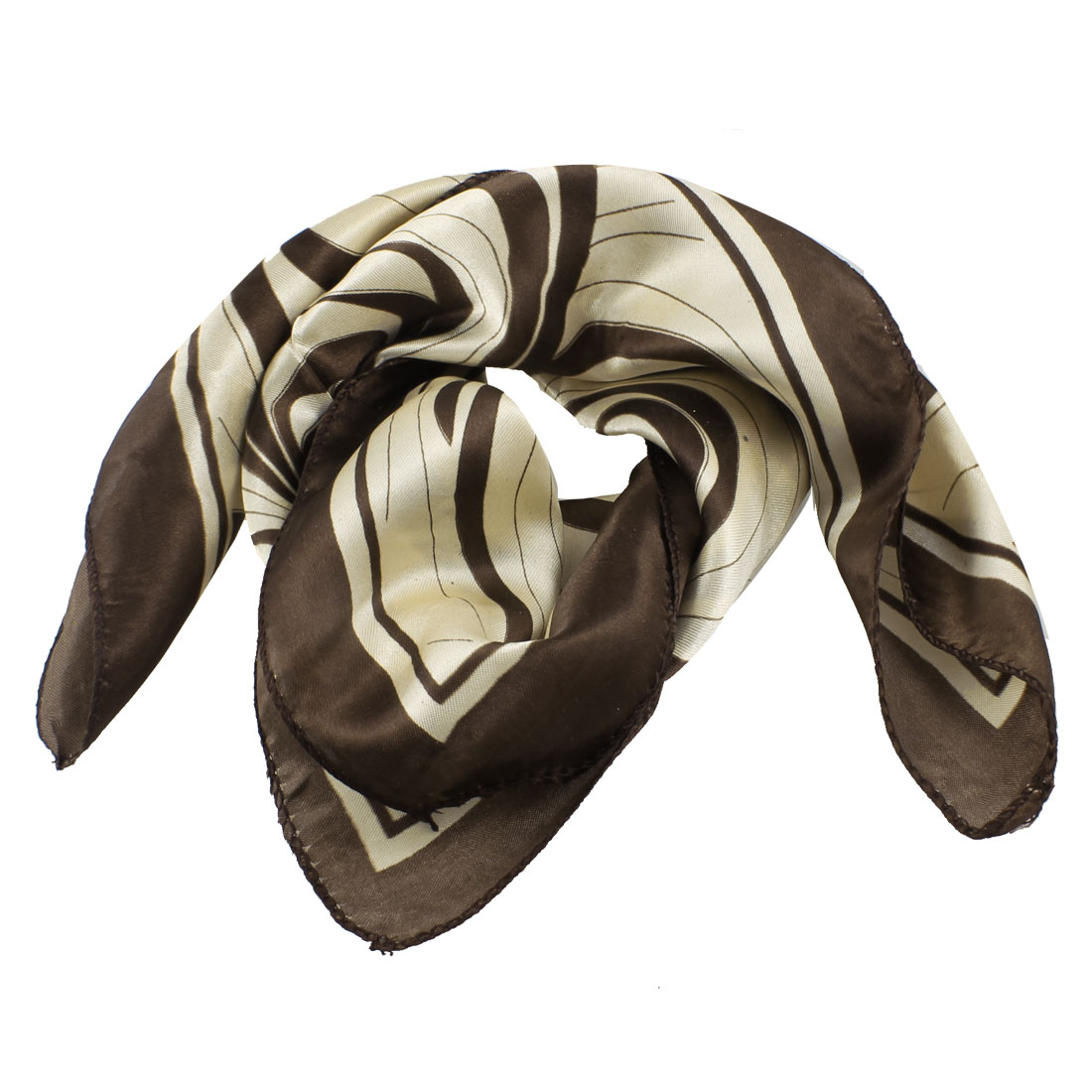 Spring Wear Brown Beige Wood Print Neckercheif Kerchief Scarf for Ladies