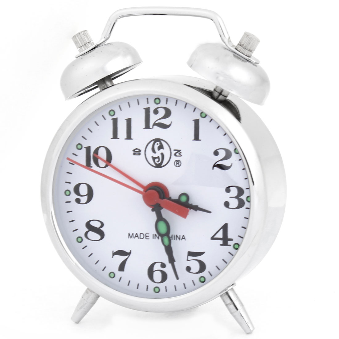 Stainless Steel Arabic Number Display 4 Hands Silver Tone Alarm Clock