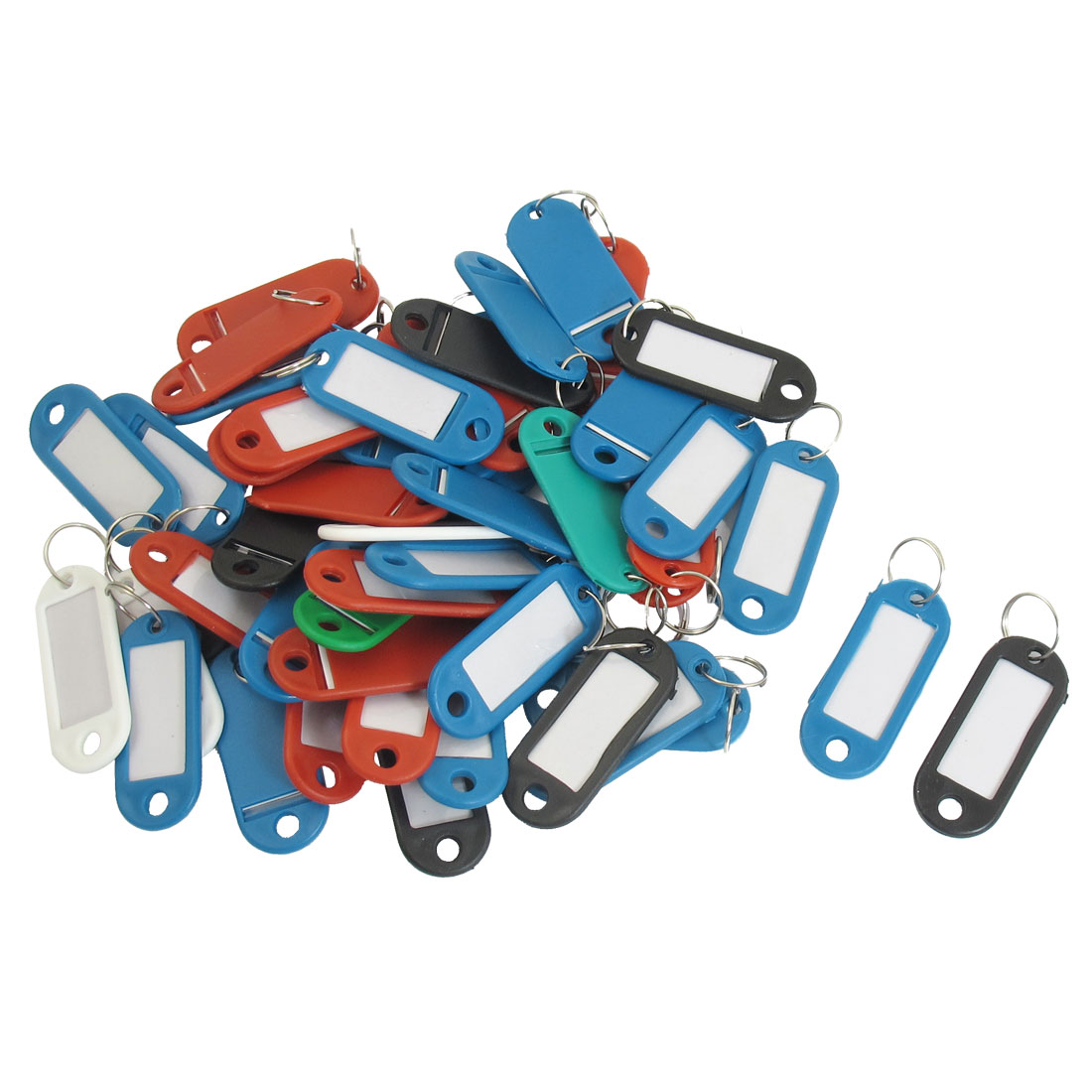 Plastic Mini Holder ID Key Labels Tags Keyring Keychain Assorted Color 50 PCS