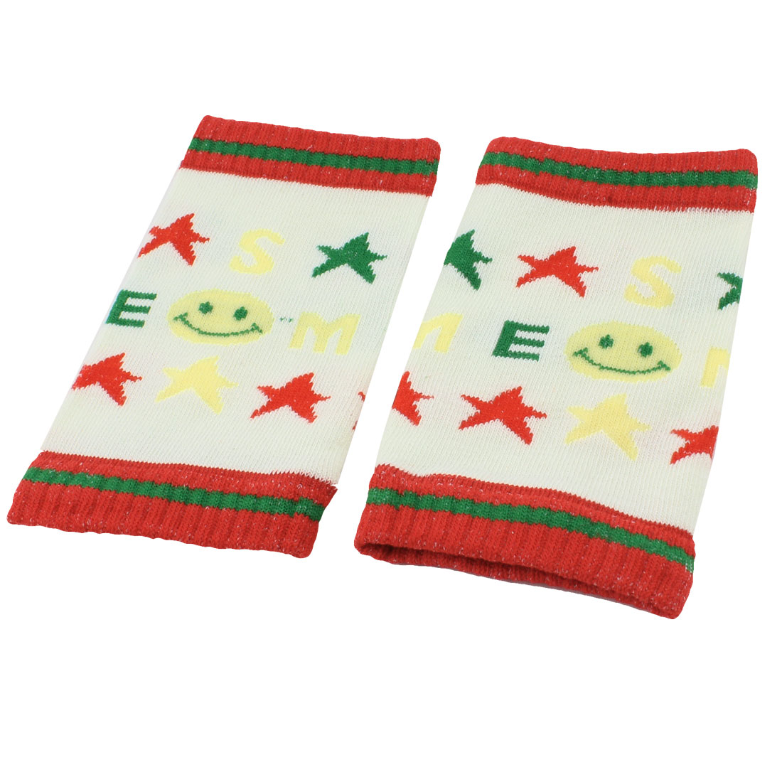 Baby Toddler Red Green Star Print Stretchy Knee Support Pad Pair