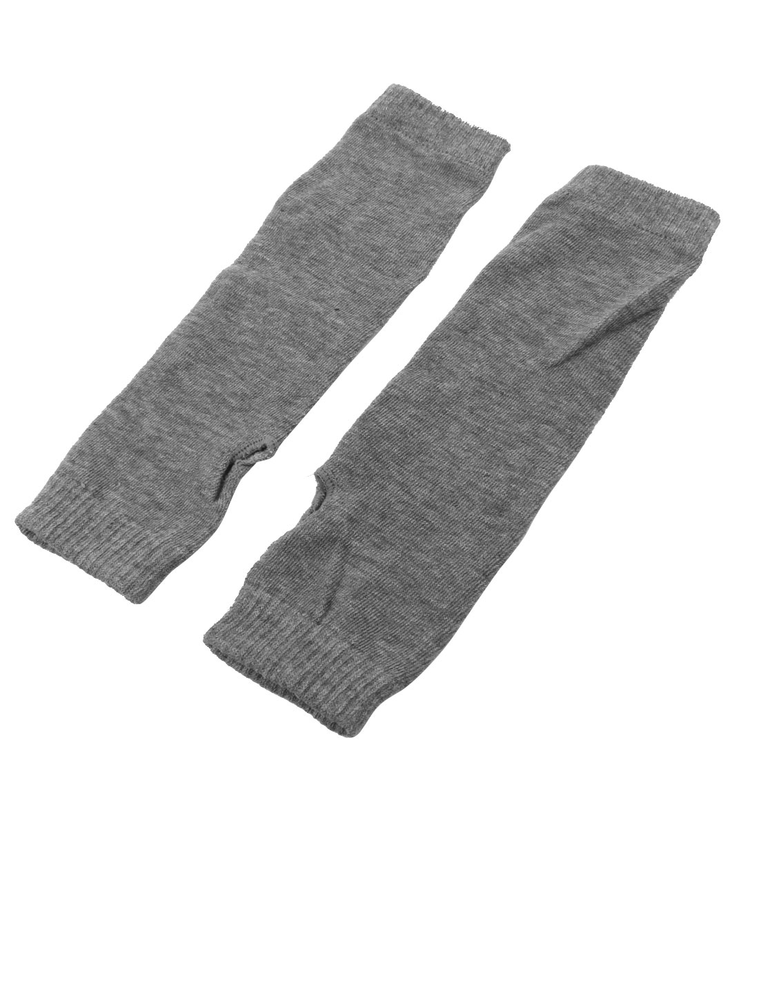 Ladies Winter Elastic Thumbless Fingerless Arm Warmers Gloves Gray