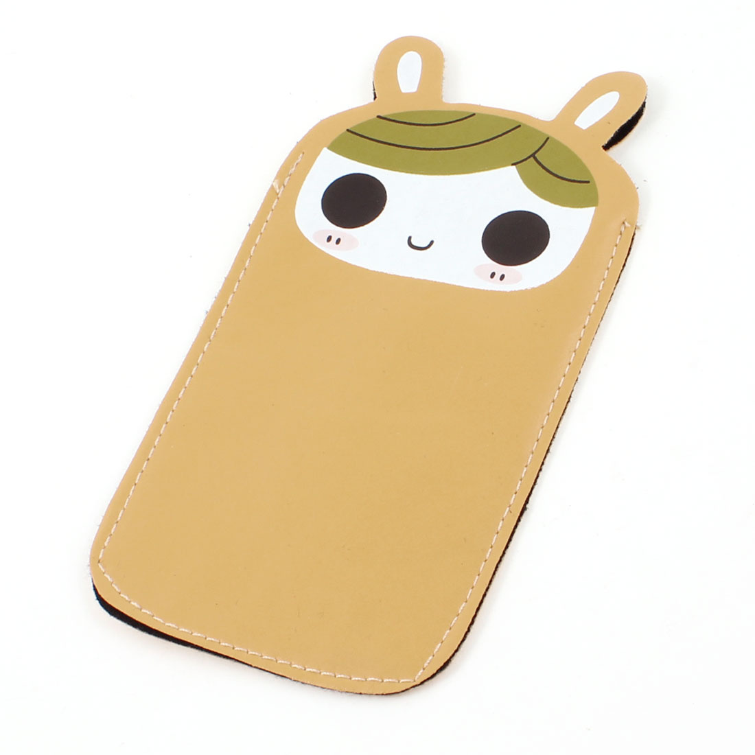 Brown Faux Leather Flannel Inner Cartoon Girl Face Print Phone Bag Pouch