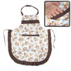 Kitchen Cook White Brown Single Pocket Self Tie Strap Bib Apron