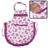 Kitchen Cook White Purple Flower Printed Self Tie Strap Bib Apron