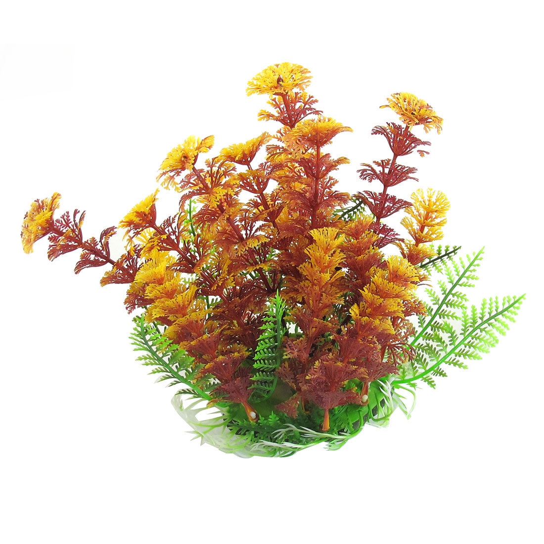 "6.3"" Height Yellow Burgundy Plastic Aquatic Grass Plants for Aquarium Fish Tank"