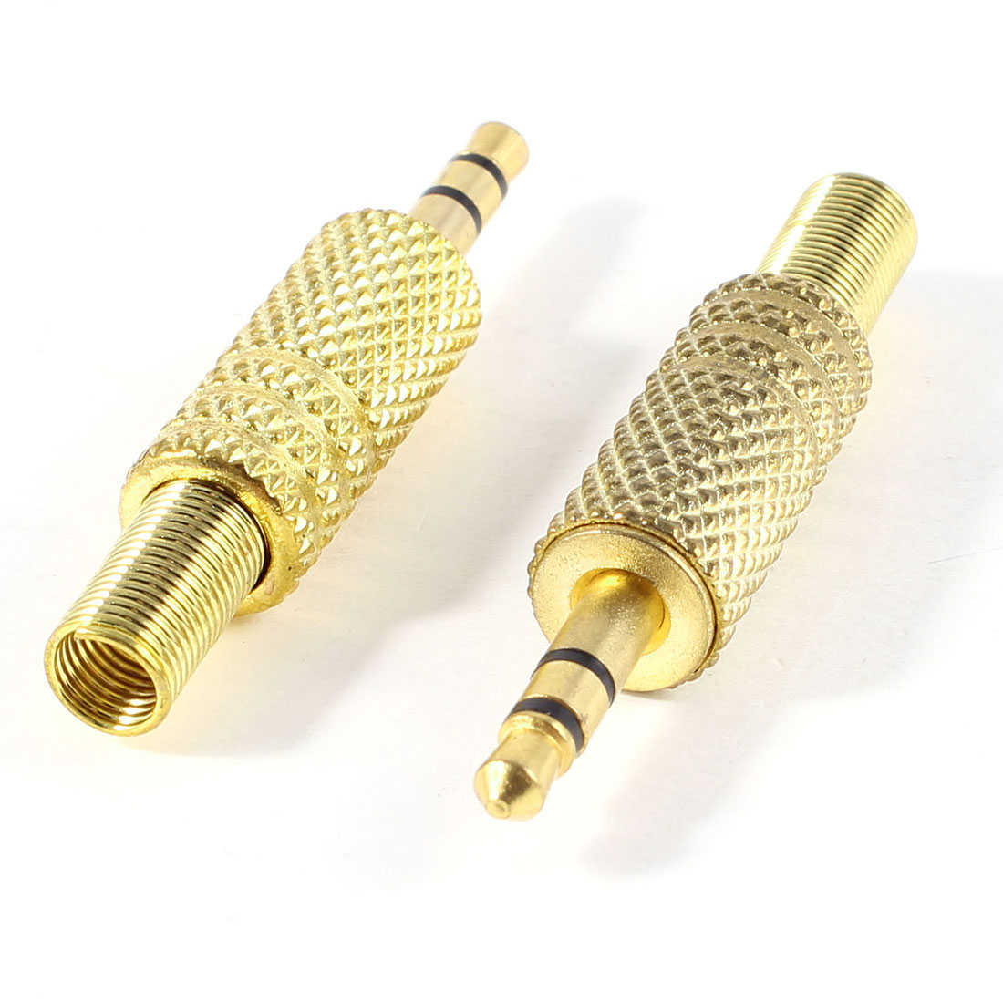 "2 Pcs Gold Tone Alloy 3.5mm 1/8"" Male Jack Plug Coax Cable Audio Connector"