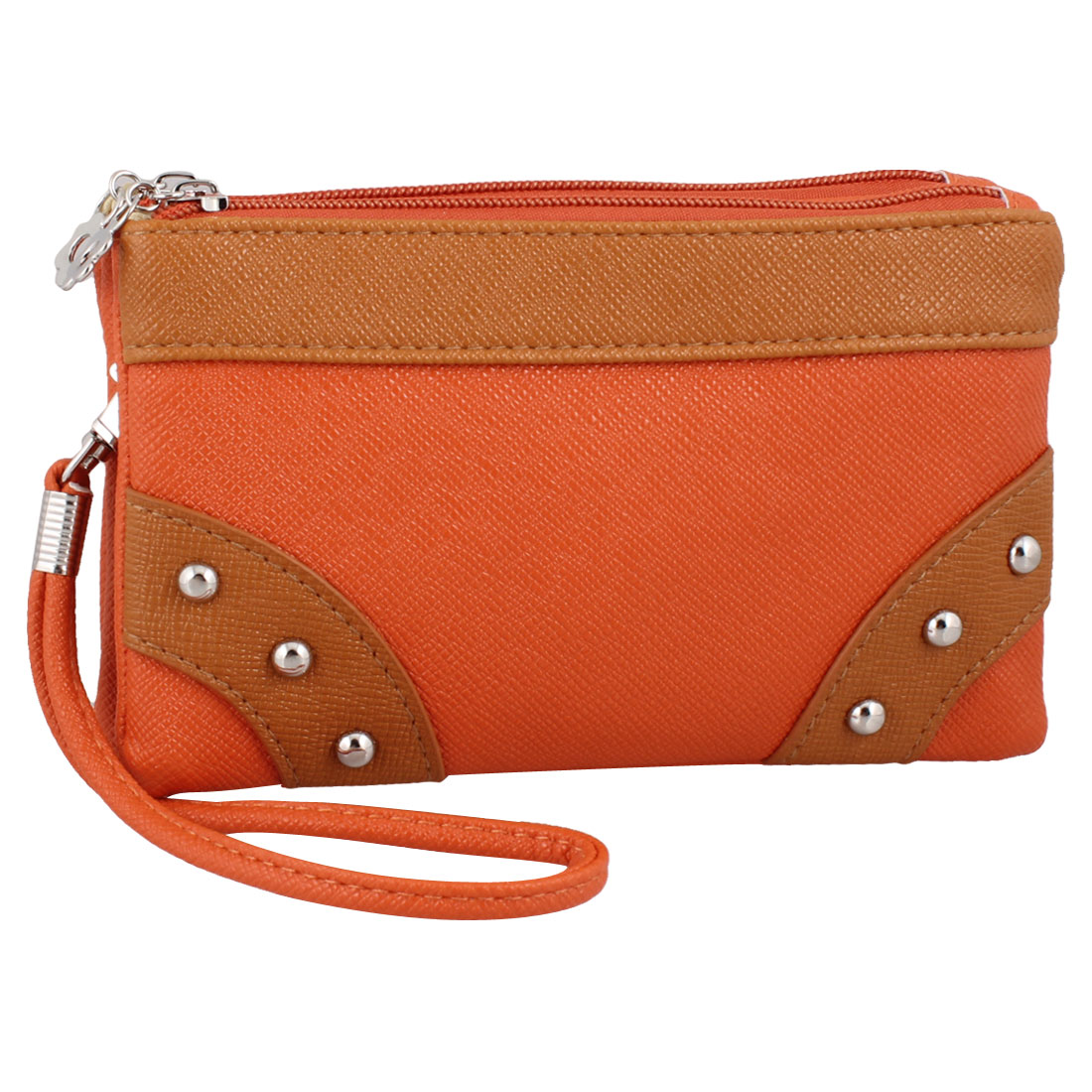 Woman Zipper Closure Orange Faux Leather 2 Slots Wallet Purse w Shoulder Strap
