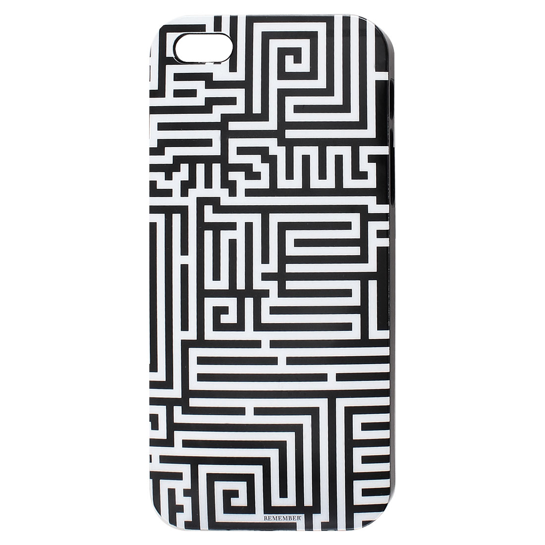 Black White Maze Pattern IMD Hard Back Case Cover for iPhone 5 5G 5th