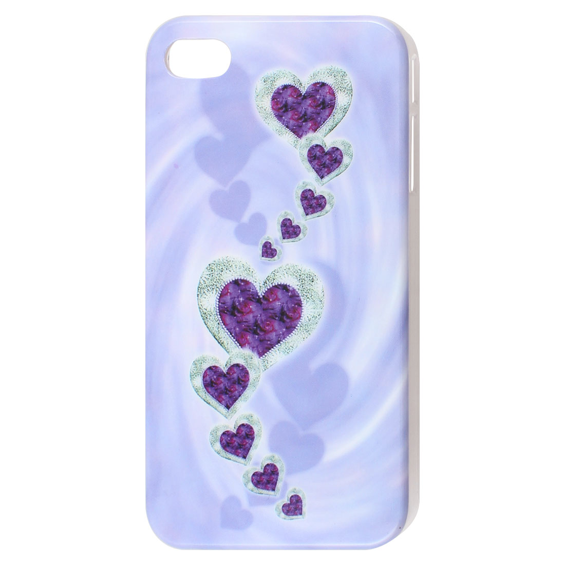 Heart Pattern Light Purple IMD Hard Back Case Cover for iPhone 4 4G 4S 4GS