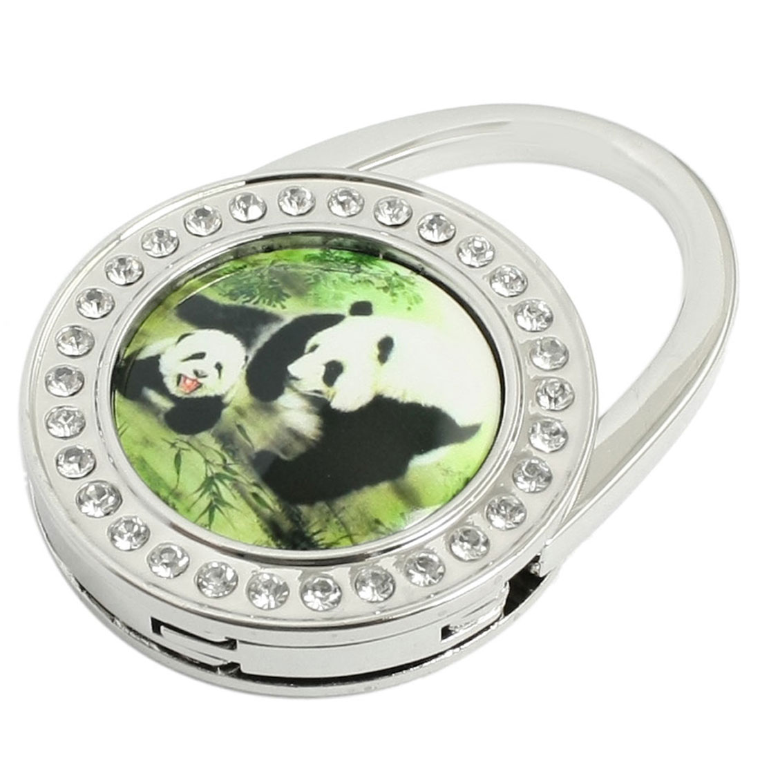 Panda Playing Pattern Glitter Rhinestone Inlaid Foldable Handbag Hook Hanger