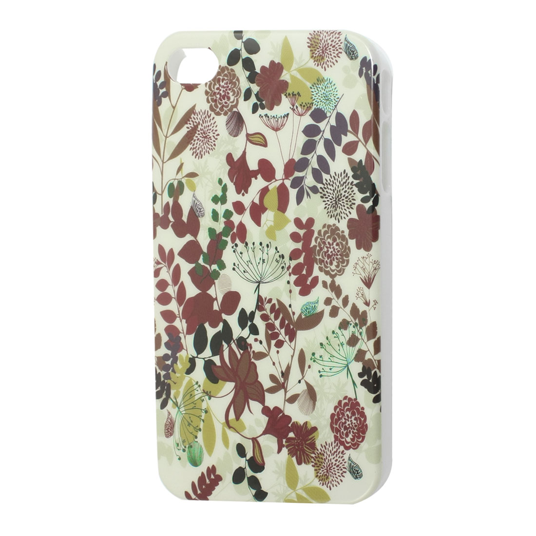 Multicolor Flower Leave Pattern IMD Hard Back Case Cover for iPhone 4S 4GS
