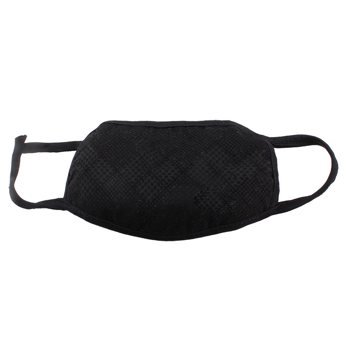 Plaid Pattern Stretchy Straps Dirt Protective Mouth Earloop Face Mask Black