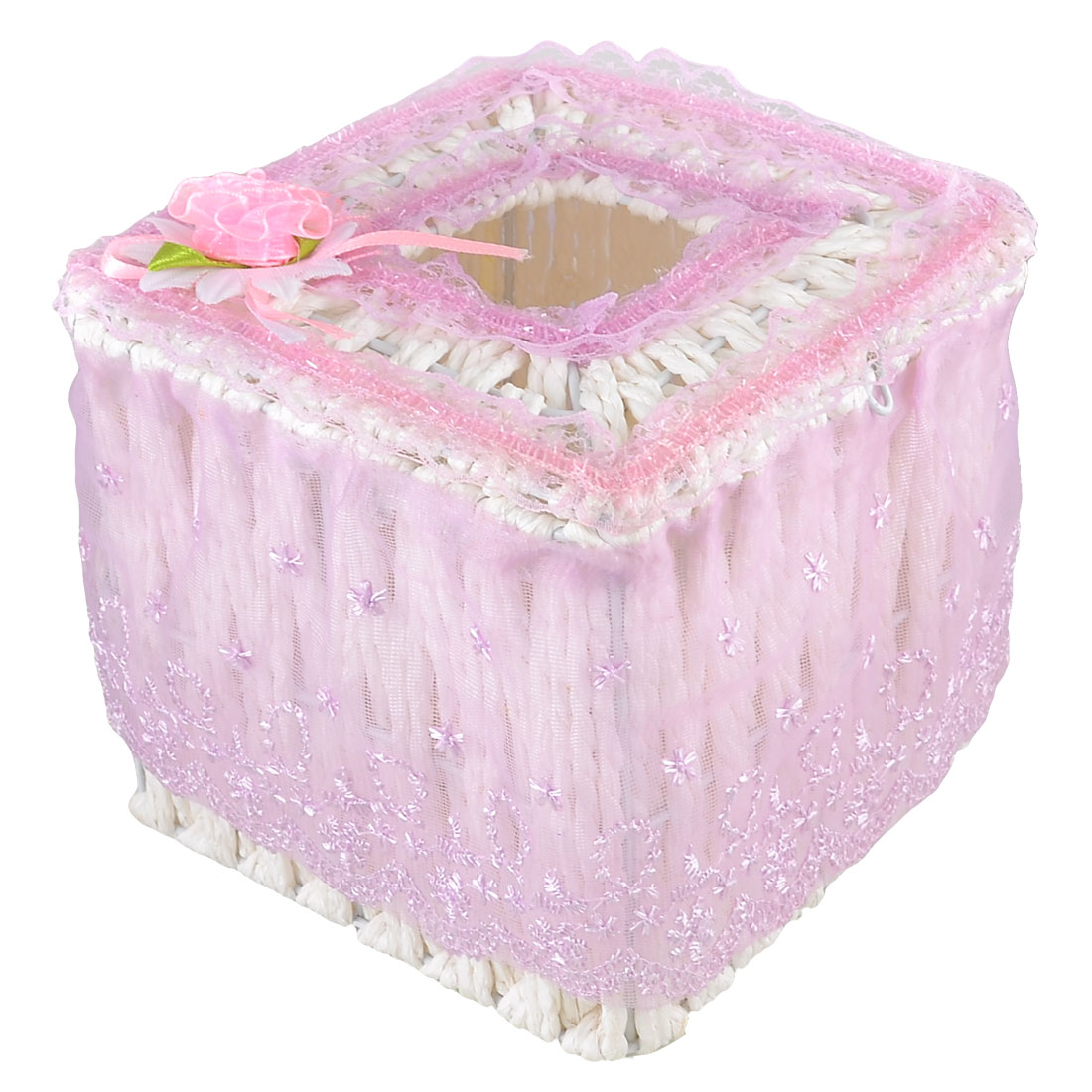Light Purple Floral Lace Detailed Square Shape White Woven Tissue Box Case