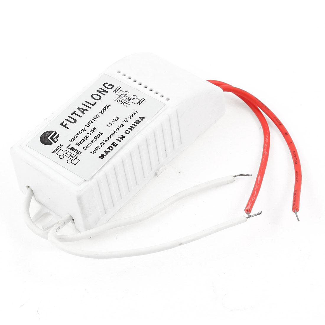 Plastic Rectangle Shell Fluorescent Light Ballast AC 220-240V 3-13W