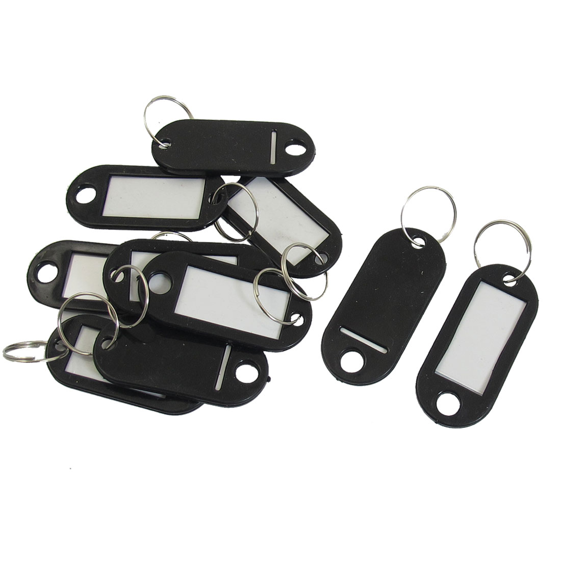 Plastic ID Name Card Labels Split Ring Keyring Keychain Key Tags Black 10pcs