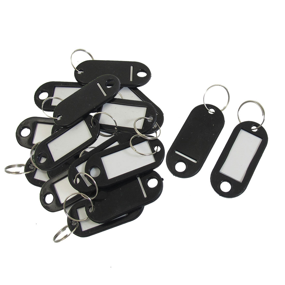 20 Pcs Key ID Label Tags Split Ring Keyring Keychain Black