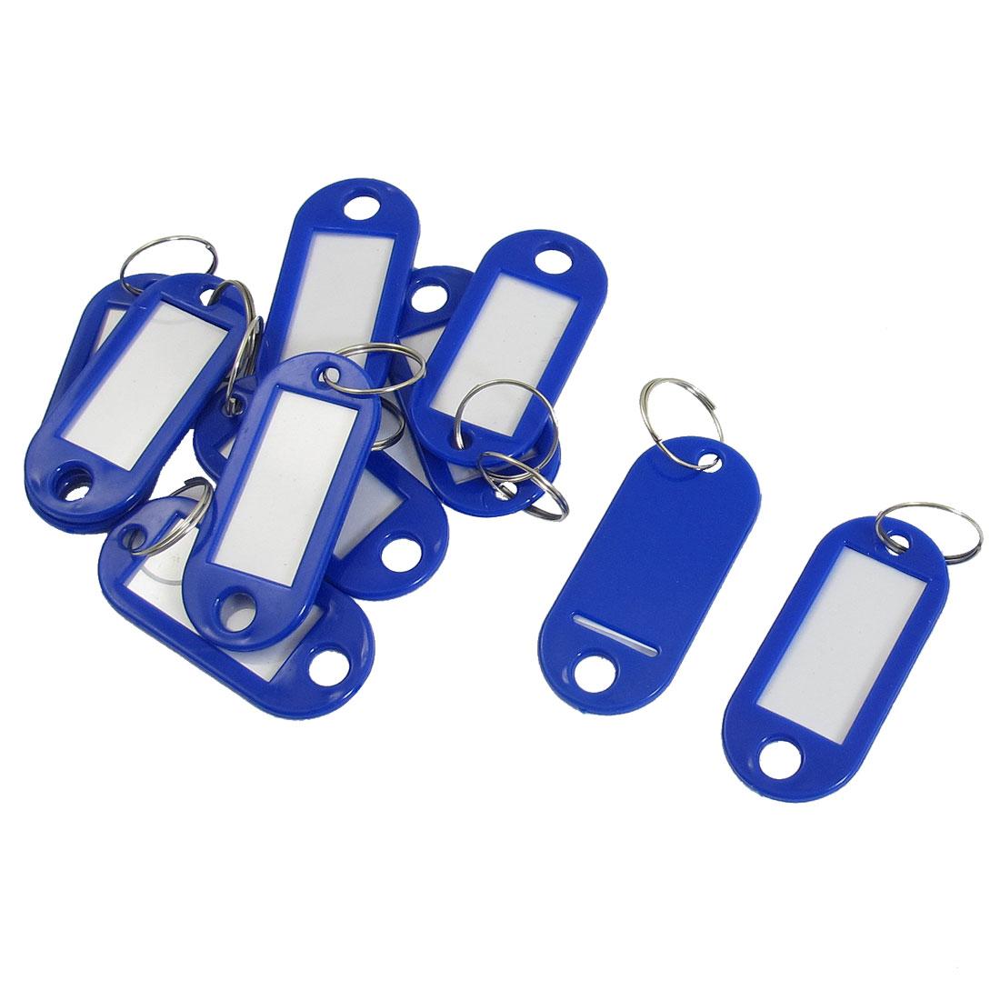 Luggage Identifiers Keychain Key ID Label Tags Split Ring Keyring Blue 10 Pcs