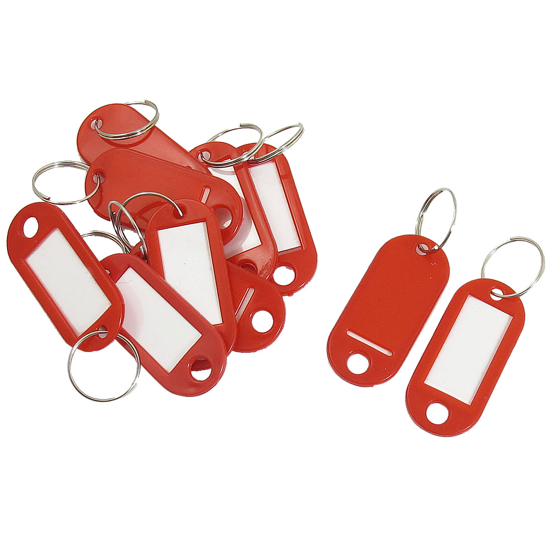 10 Pcs Key ID Label Tags Split Ring Keyring Keychain Red