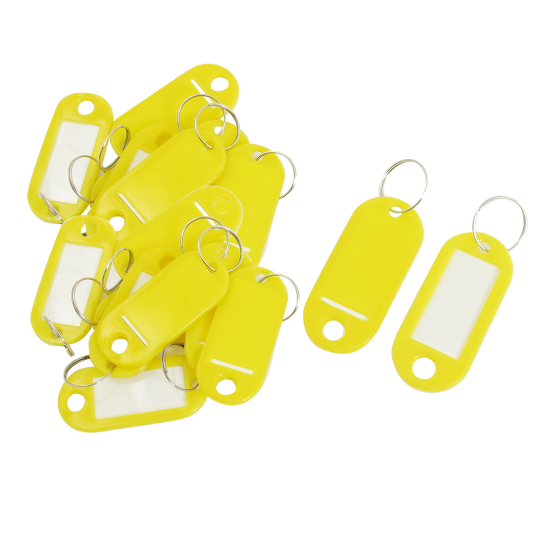 Key Luggage ID Labels Tags Name Card Split Ring Keyring Keychain Yellow 20pcs