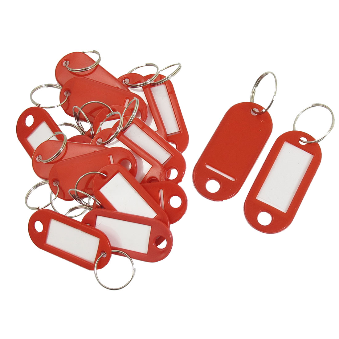 Key ID Label Tags Split Ring Keyring Fobs Luggage Keychain Red 20 Pcs