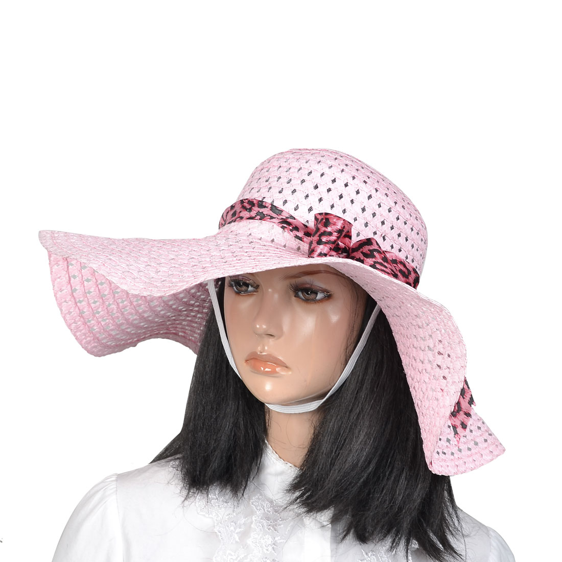 Fuchsia Black Leopard Pattern Band Wide Brim Hollow Out Straw Hat Cap Pink for Lady