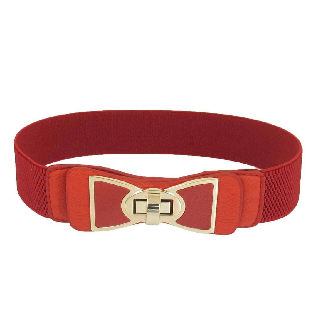 Ladies Bowtie Detail Turn Lock Buckle Stretchy Red Waist Belt Waistband Cinch